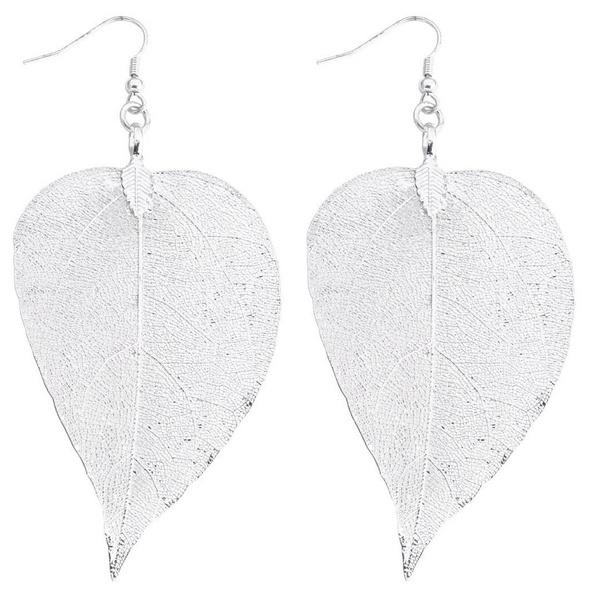 Ohrhänger - Blatt Silber