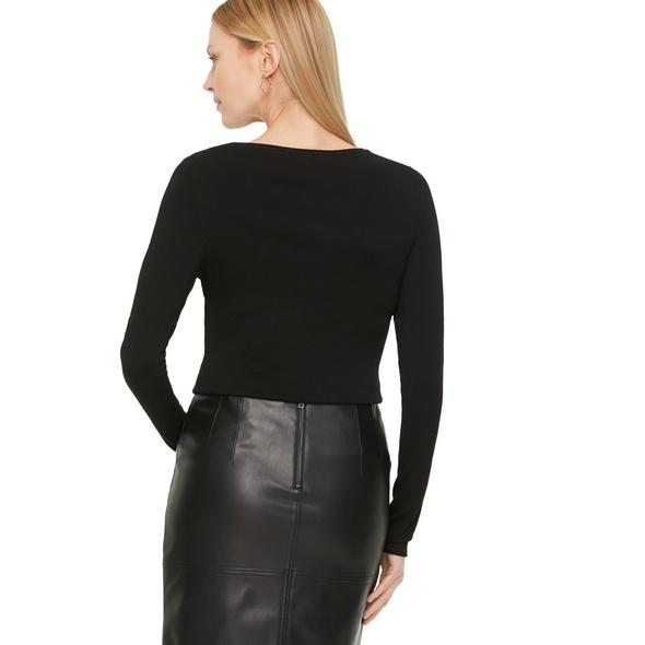 V-Neck-Pullover mit Rollsaumblende - Feinstrickpullover