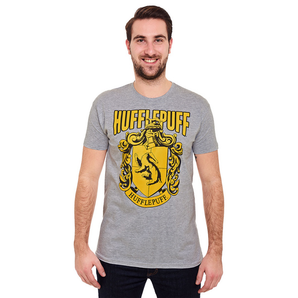 Harry Potter - Hufflepuff Wappen T-Shirt grau