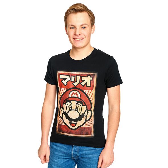 Super Mario Propaganda Poster T-Shirt schwarz