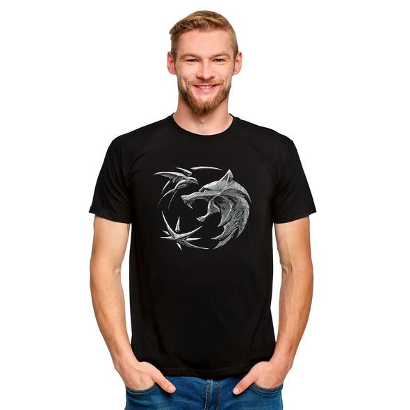Witcher - Wolf Emblem T-Shirt schwarz
